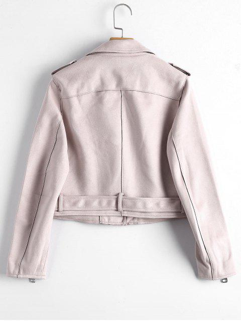 women's Asymmetric Zipper Belted Faux Suede Jacket - LIGHT PINK M Mobile