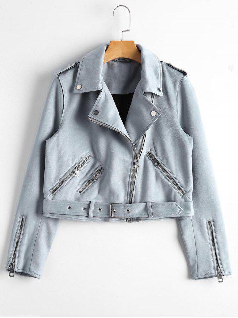 latest Asymmetric Zipper Belted Faux Suede Jacket - BLUE GRAY M Mobile