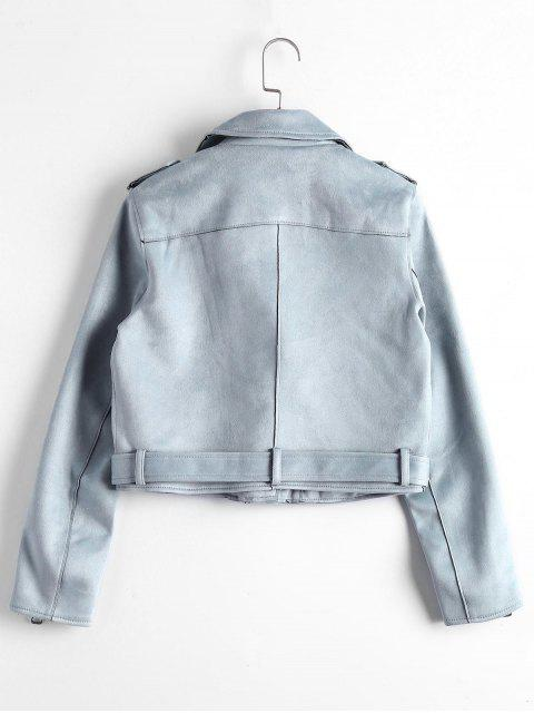 fashion Asymmetric Zipper Belted Faux Suede Jacket - BLUE GRAY S Mobile