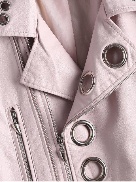 women Hollow Out Ring Embellished Faux Leather Jacket - LIGHT PINK S Mobile