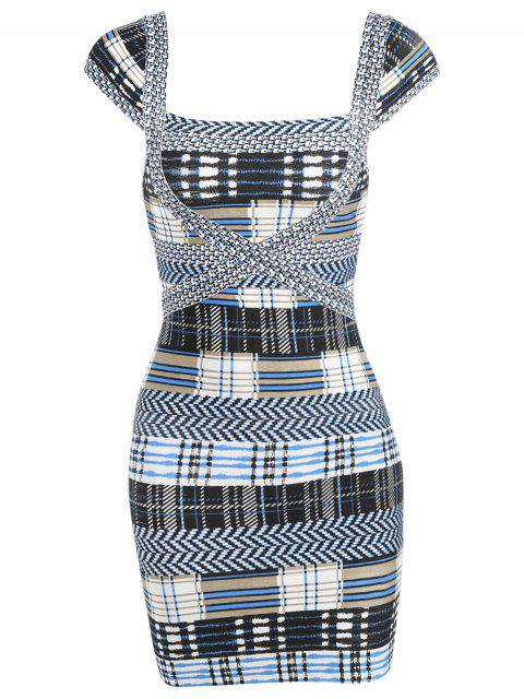 trendy Plaid Cap Sleeve Bandage Dress -   Mobile