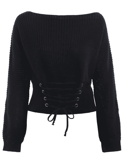 sale Boat Neck Lace Up Sweater - BLACK ONE SIZE Mobile