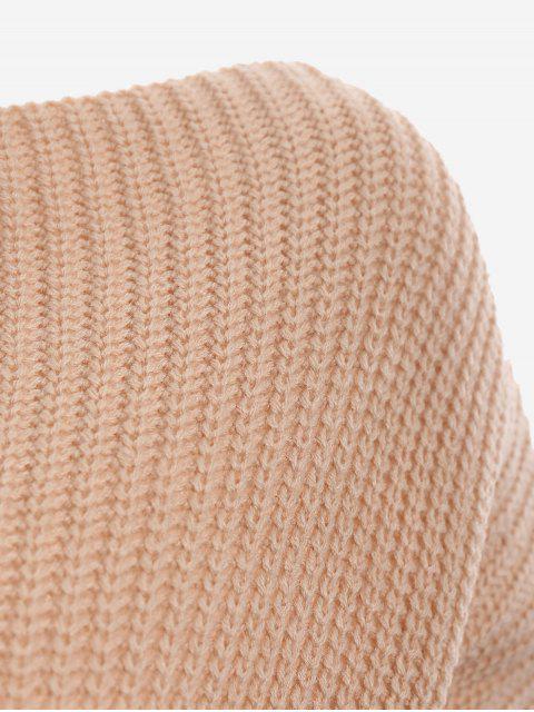 buy Boat Neck Lace Up Sweater - DARK KHAKI ONE SIZE Mobile