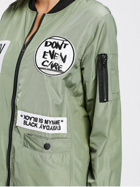 lady Badge Patched Zip Up Coat with Pockets - ARMY GREEN L Mobile