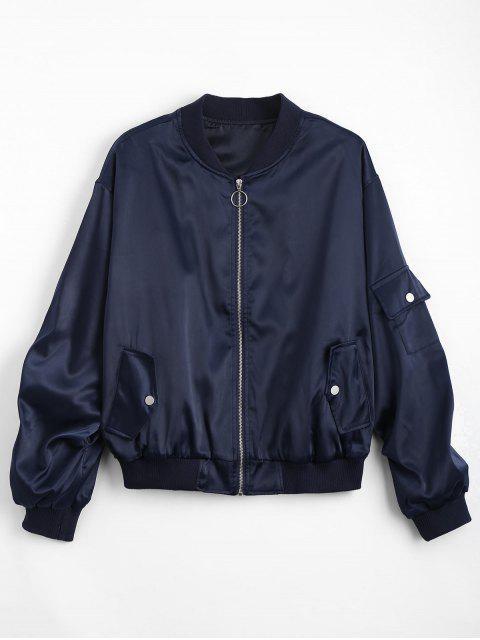 best Zip Up Pockets Drop Shoulder Jacket - PURPLISH BLUE ONE SIZE Mobile