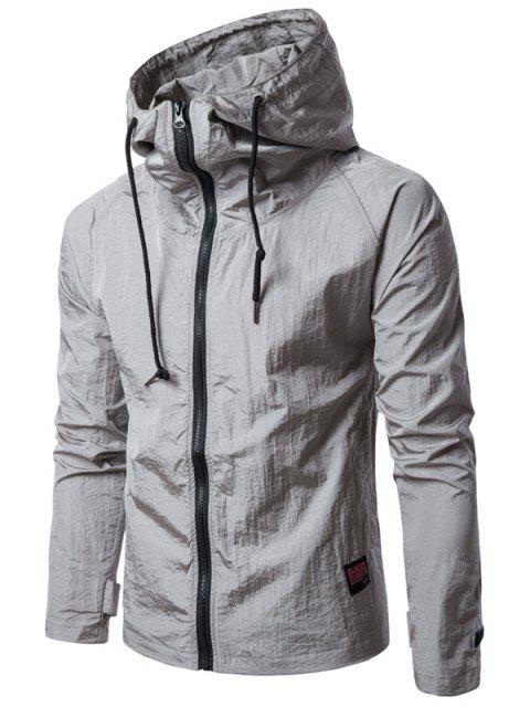 Hooded Raglan Sleeve Drawstring Zip Up Veste légère - Gris M Mobile