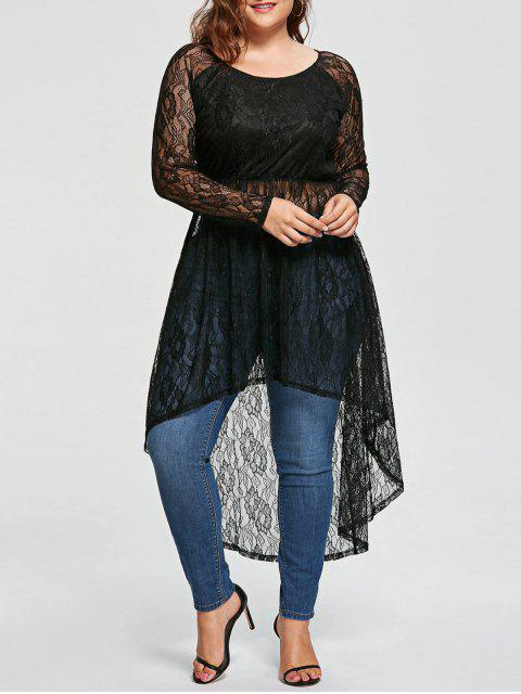 Plus Size Siehe Thru High Low Longline Lace Bluse - Schwarz 5XL Mobile