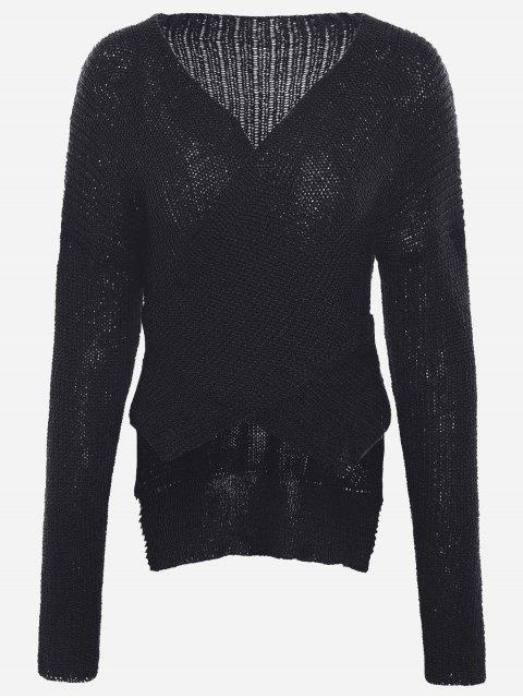 ladies Drop Shoulder Plain Wrap Sweater - BLACK ONE SIZE Mobile