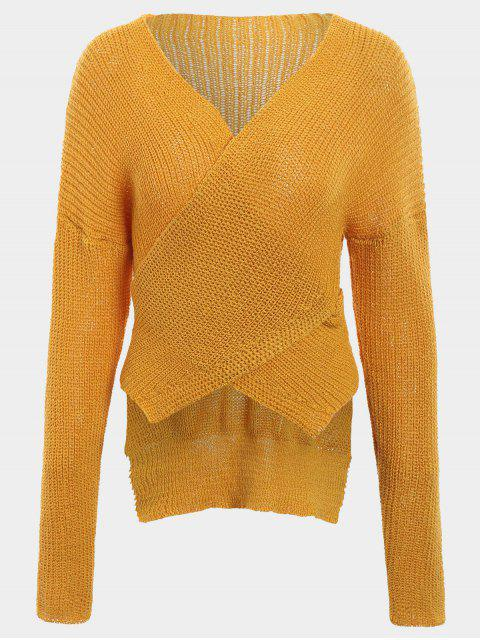 best Drop Shoulder Plain Wrap Sweater - GINGER ONE SIZE Mobile