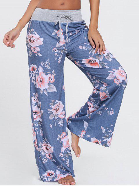 fashion Floral Wide Leg Drawstring Pants - BLUE 2XL Mobile