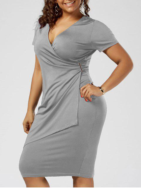 Plus Size Überlappung Plain Tight Surplice V-Ausschnitt Etuikleid - Hellgrau 3XL Mobile