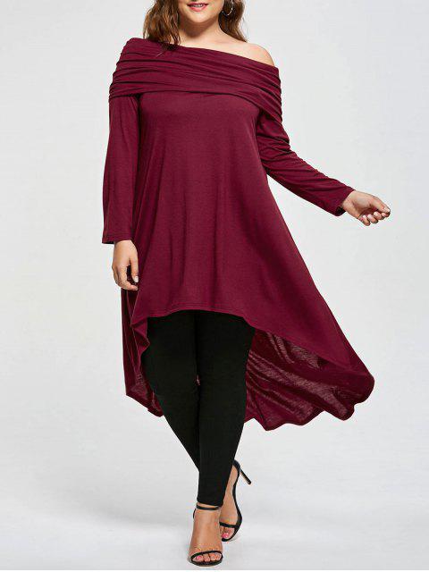 Übergroße Schrägkragen Hoch Niedriges T-Shirt - Weinrot 2XL Mobile