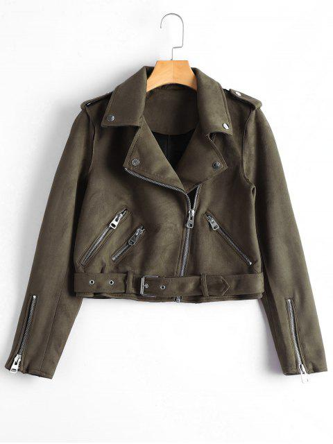 new Asymmetric Zipper Belted Faux Suede Jacket - BROWN M Mobile