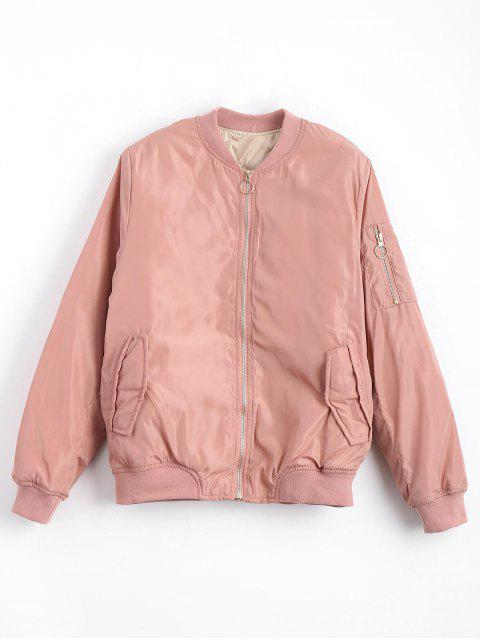 fancy Zip Up Invisible Pockets Bomber Jacket - PINK L Mobile