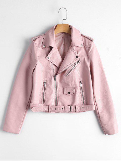 affordable Zip Up Belted Faux Leather Biker Jacket - LIGHT PINK L Mobile