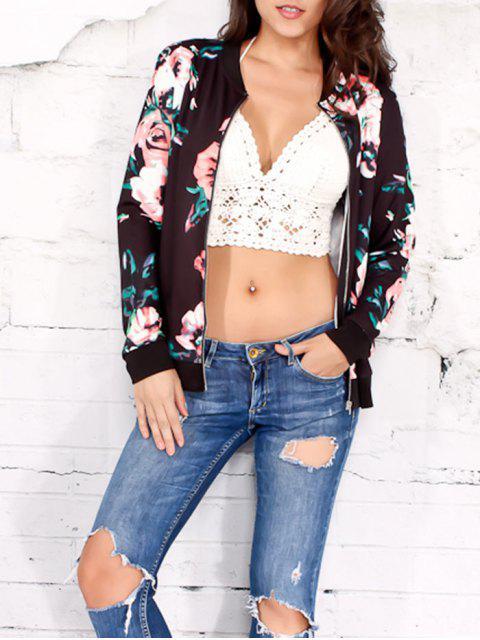 Jacke mit Reißverschluss und Blumendruck - Schwarz L Mobile