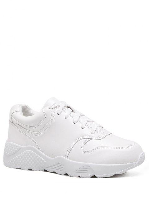 fancy Running Faux Leather Sneakers - WHITE 37 Mobile