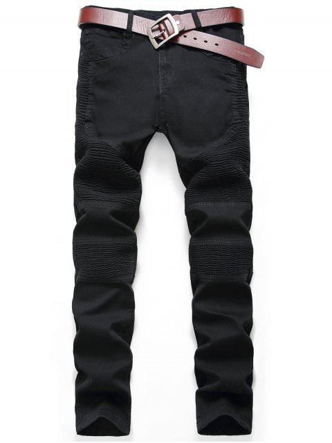 shop Zip Fly Pleat Design Biker Jeans - BLACK 32 Mobile