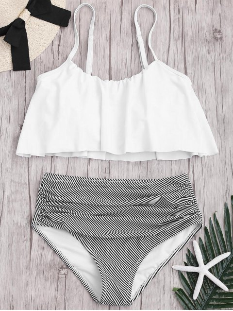 Ensemble Bikini Rayé à Taille Haute Grande Taille - Blanc 2XL Mobile