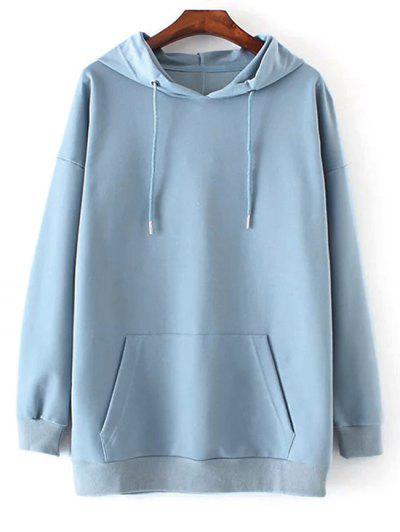 Front Pocket Drop Shoulder Long Hoodie - Light Blue L