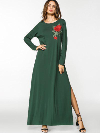 الشق الزهور مطرز بقع فستان ماكسي - أخضر M