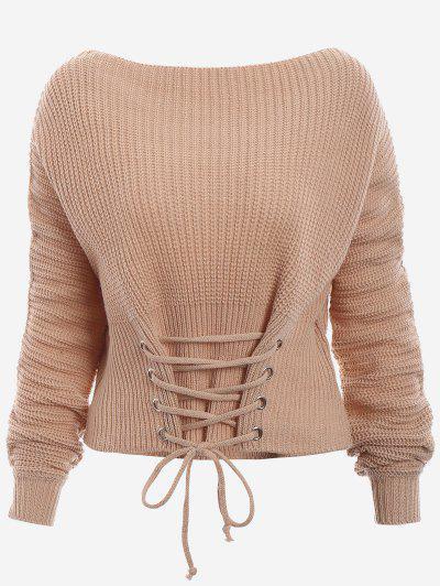 69d33d597d Boat Neck Lace Up Sweater - Dark Khaki