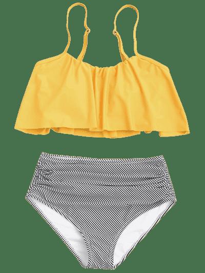 Plus Size Striped High Waisted Bikini Set