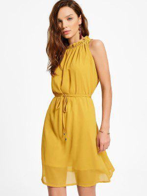 Ruffled Neck Sleeveless Chiffon Dress - Ginger Xl