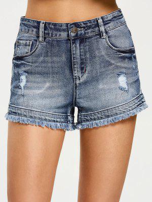 Cortos Destruidos Pantalones Cortos Denim - Denim Blue S