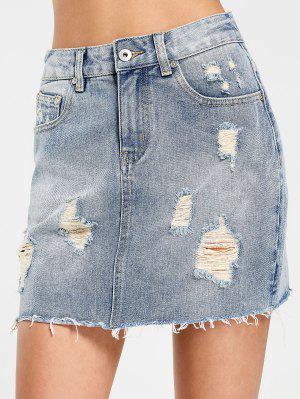 High Waisted Destroyed Denim Skirt - Denim Blue L