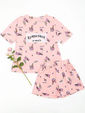 Ice Cream Cute Loungewear T-shirt And Shorts - Pink 2xl