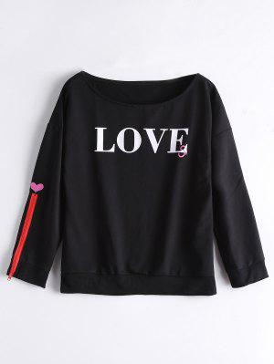 Loose Zip Sleeve Letter Sweatshirt - Black M