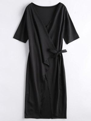 Front Slit Wrap Midi Dress - Black Xl