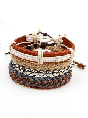 Beaded Woven Straw Rope Friendship Bracelets - Brown