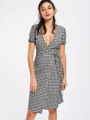 Checked Ruffles Wrap Casual Dress