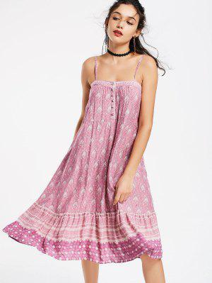 Half Buttoned Tribal Swing Slip Dress - M