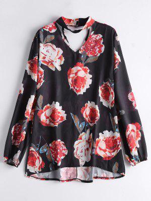 Blusa Choker Chiffon Floral - Preto S