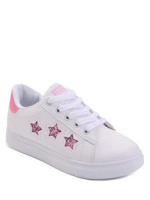 El Modelo De Estrella Ata Para Arriba Los Zapatos Planos De Los Cequis - Rosa 39