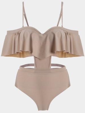 Ruffle Underwire Overlay Cut Out Monokini - Yellowish Pink S