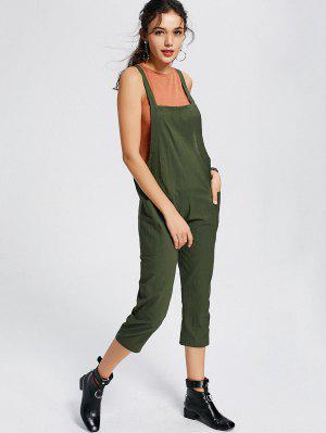 Square Collar Capri Jumpsuit With Pockets - Army Green M