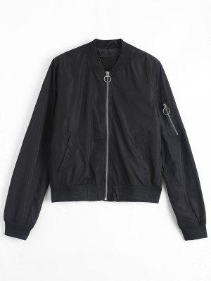 Invisible Pockets Zippered Bomber Jacket - Black M
