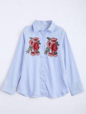 Chemise à Rayures Brodées à Motifs Floraux - Bleu Clair S