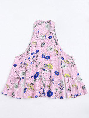 Stripes Floral Cold Shoulder Shirt - Rosa S