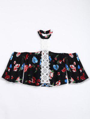Blusa Floral Com Gargantilha De Renda De Renda - Preto L