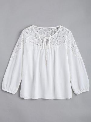 Blusa De Painel De Renda Chiffon Solto - Branco L
