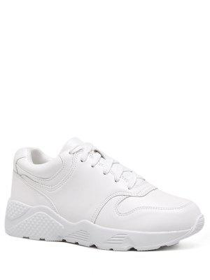 Running Faux Leather Sneakers - White 37