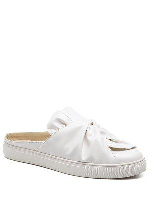 Faux Leather Bowknot Slip On Flats - White 37