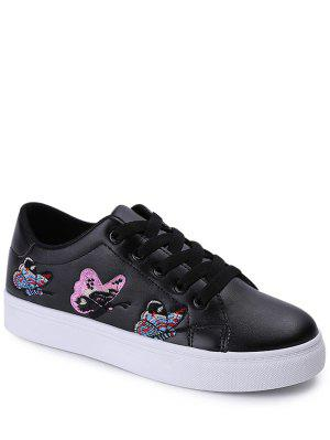 Embroidery Tie Up Butterfly Pattern Flat Shoes - Black 38