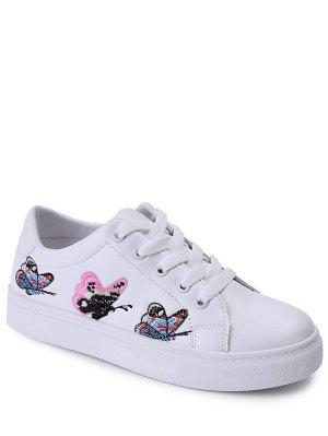 Embroidery Tie Up Butterfly Pattern Flat Shoes - White 40