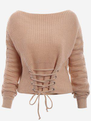 Boat Neck Lace Up Sweater - Dark Khaki